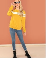 Yellow Front Striped Sweatshirt