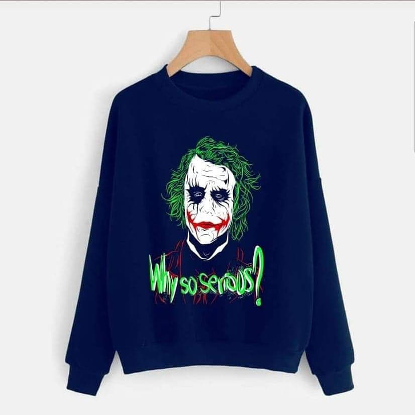 Navy Blue Joker Printed Sweatshirt