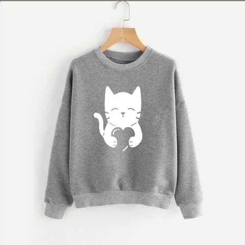 Grey Meow Printed Sweatshirt