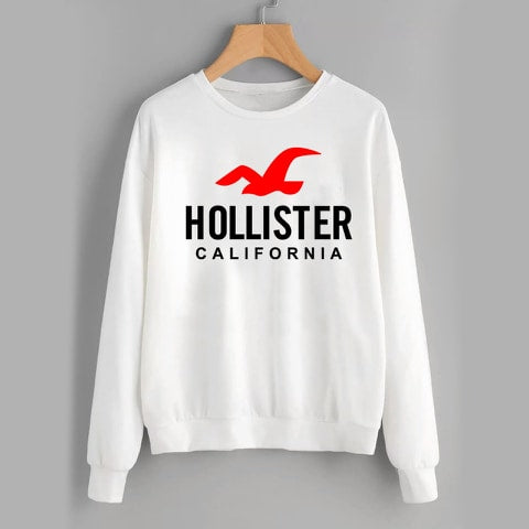 White Hollister Printed Sweatshirt
