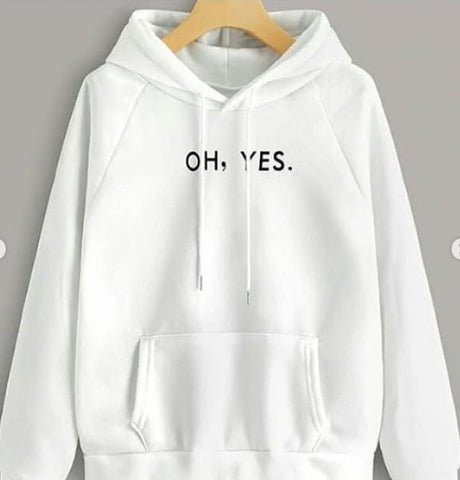 White Oh Yes Printed Hood