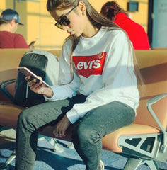 White Levis Printed Sweatshirt