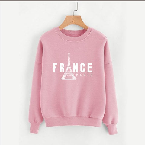 Baby Pink France Printed Sweatshirt