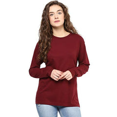 Maroon Plain Full Sleeves T-shirt