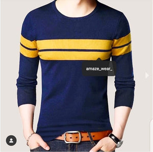 Blue Front Yellow Striped Full Sleeves T-shirt
