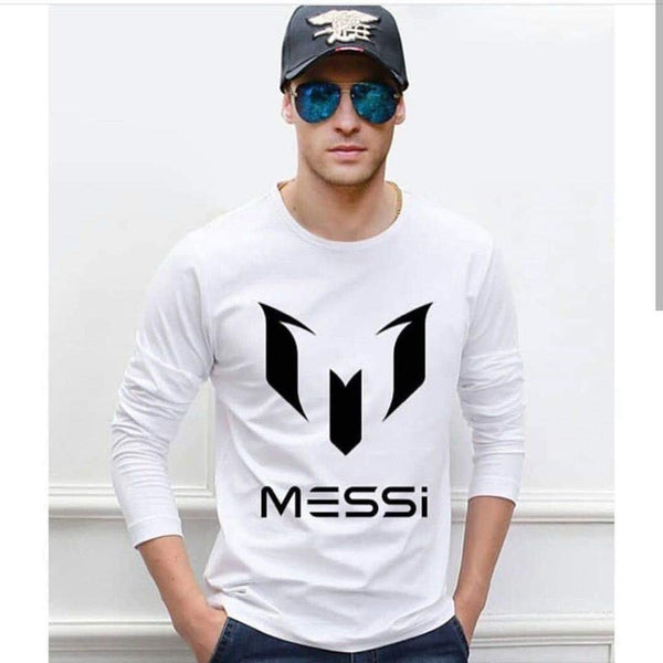 White Full Sleeves Printed T-shirt