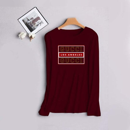 Maroon Full Sleeves Gucci Printed T-shirt