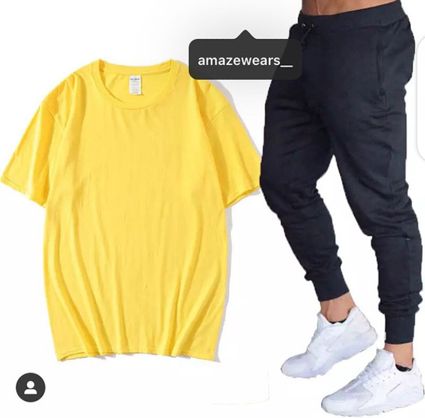 Summer Yellow T-shirt And Black Trouser