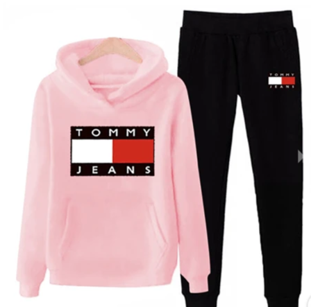 Black and Pink Tommy Jeans Tracksuit