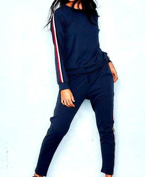 Navy Blue Striped Tracksuit