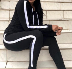 Black White Striped Tracksuit
