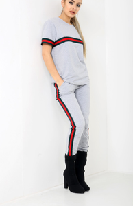 Summer Grey Striped Tracksuit