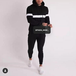 Black Front And Sleeves Striped Tracksuit