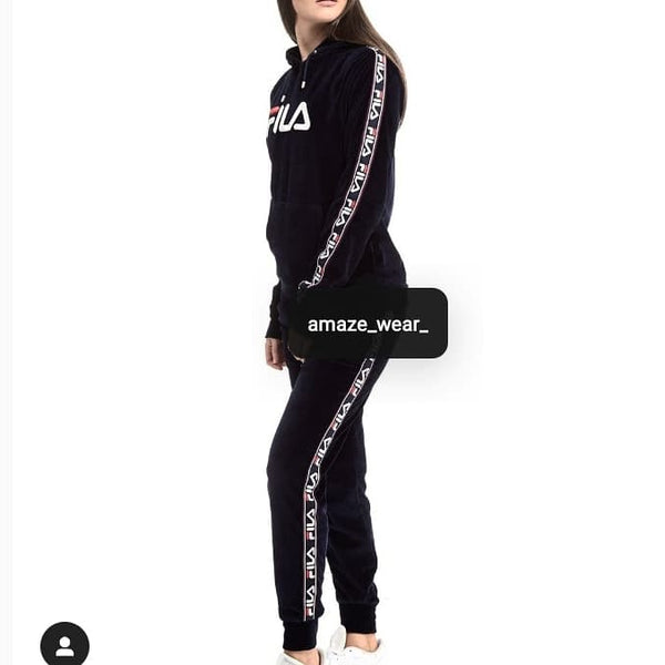 Black Front and Side Printed Tracksuit