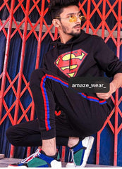 Black Superman Printed and Striped Tracksuit