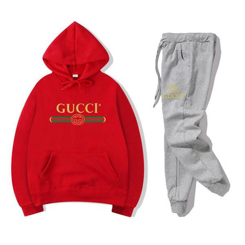 Red and Grey Gucci Printed Tracksuit