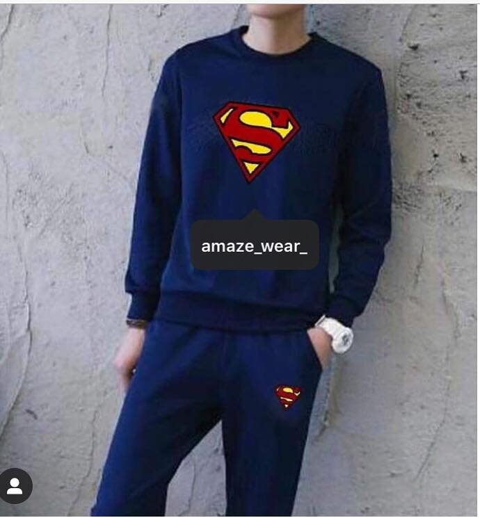 Navy Blue Superman Printed Tracksuit