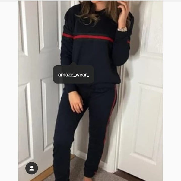 Black Front and Side Striped Tracksuit