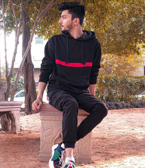 Black Front Striped Tracksuit