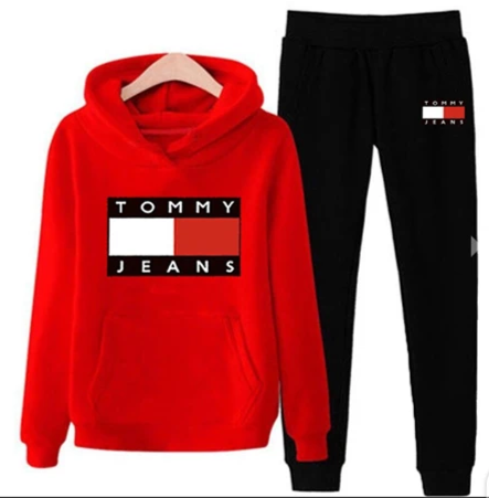 Red and Black Tommy Jeans Tracksuit