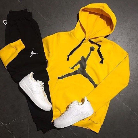 Yellow And Black Printed Tracksuit