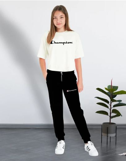 White T-shirt & Black Trouser (Champion) Tracksuit