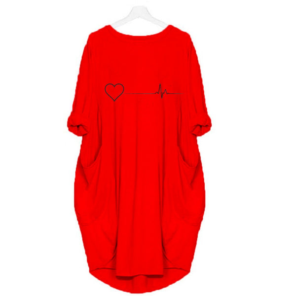 Red Long (heart beat) Printed T-shirt