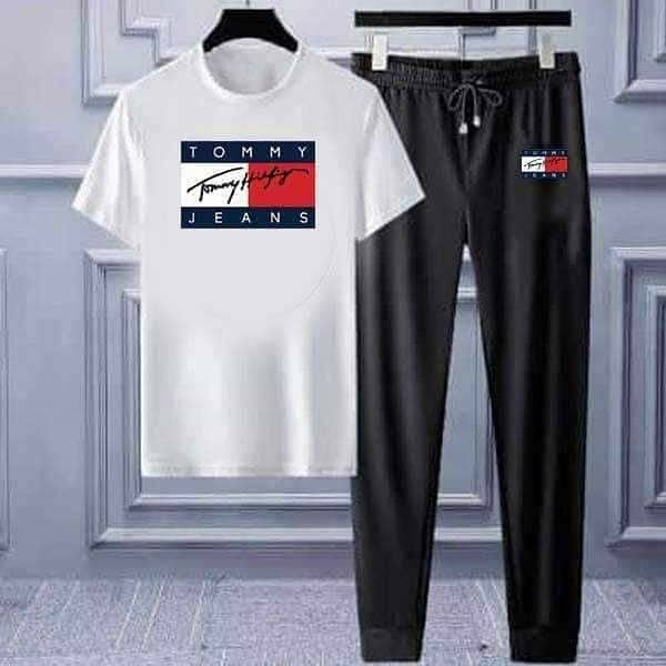 White T-shirt & Trouser (Tommy Jeans) Printed Summer Set