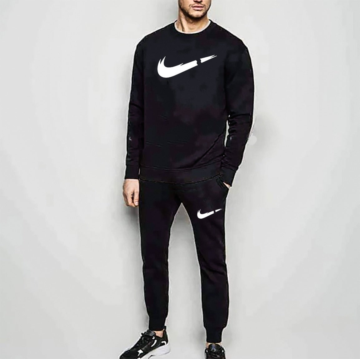 Black Summer Cut Nike Printed Tracksuit