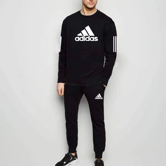 Black Summer Adidas And Stripe Printed Tracksuit