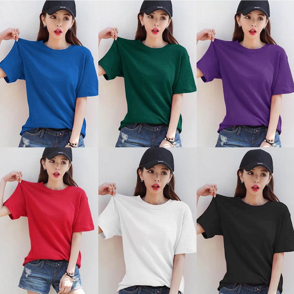 Pack Of 6 Plain Half Sleeves T-shirt