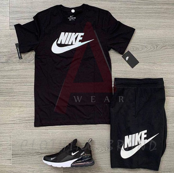 Black Nike Printed T-shirt & Short Tracksuit