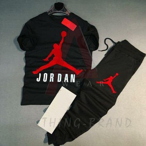 Black Jordan Printed T-shirt & Short Tracksuit