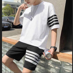 Striped T-Shirt And Shorts Summer Tracksuit