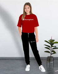Red Tee (Champion) Printed Summer Tracksuit