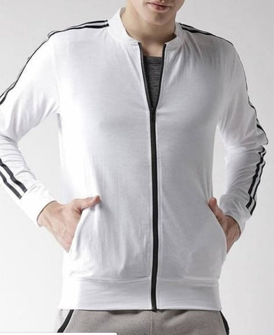 White Striped Bomber Fleece Jacket