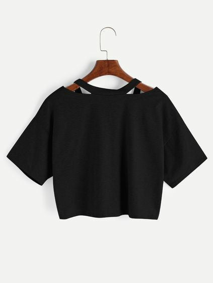 Black Stylish Half Sleeve T-shirt