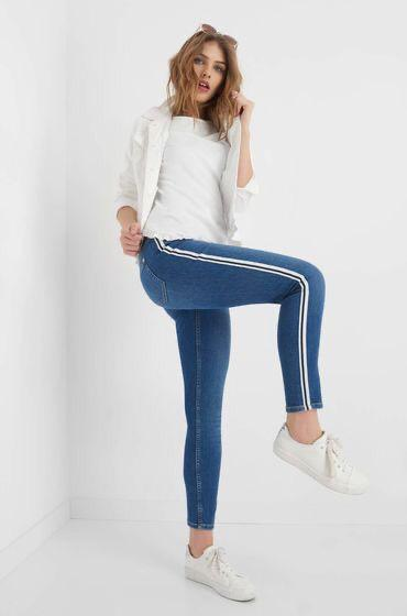 Blue Side Striped Jeans