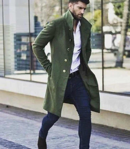 Green Fleece Coat Stylish For Men's