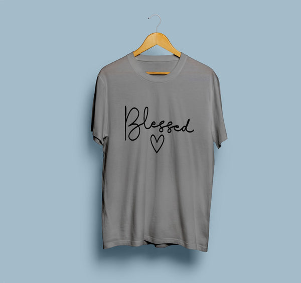Charcoal Blessed Half Sleeves Printed T Shirt