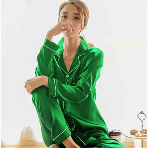 Green Silk Night Suit