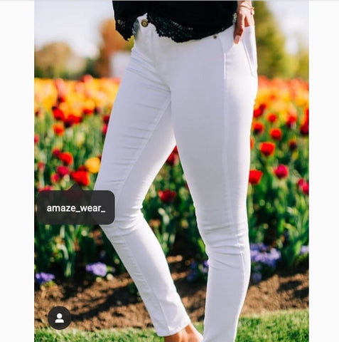 White Plain Stretchable Jeans