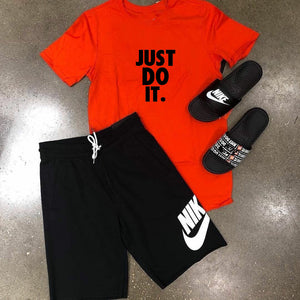 Red T-shirt & Black Short (JUST DO IT) Printed Set