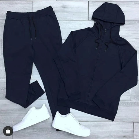 Navy Blue Plain Tracksuit