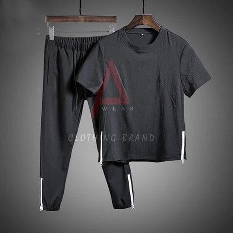 Black T-shirt And Trouser Bottom Zip Summer Set