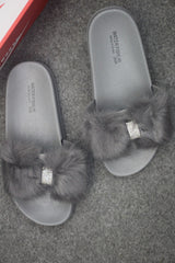 Ladies Stylish Grey Slides