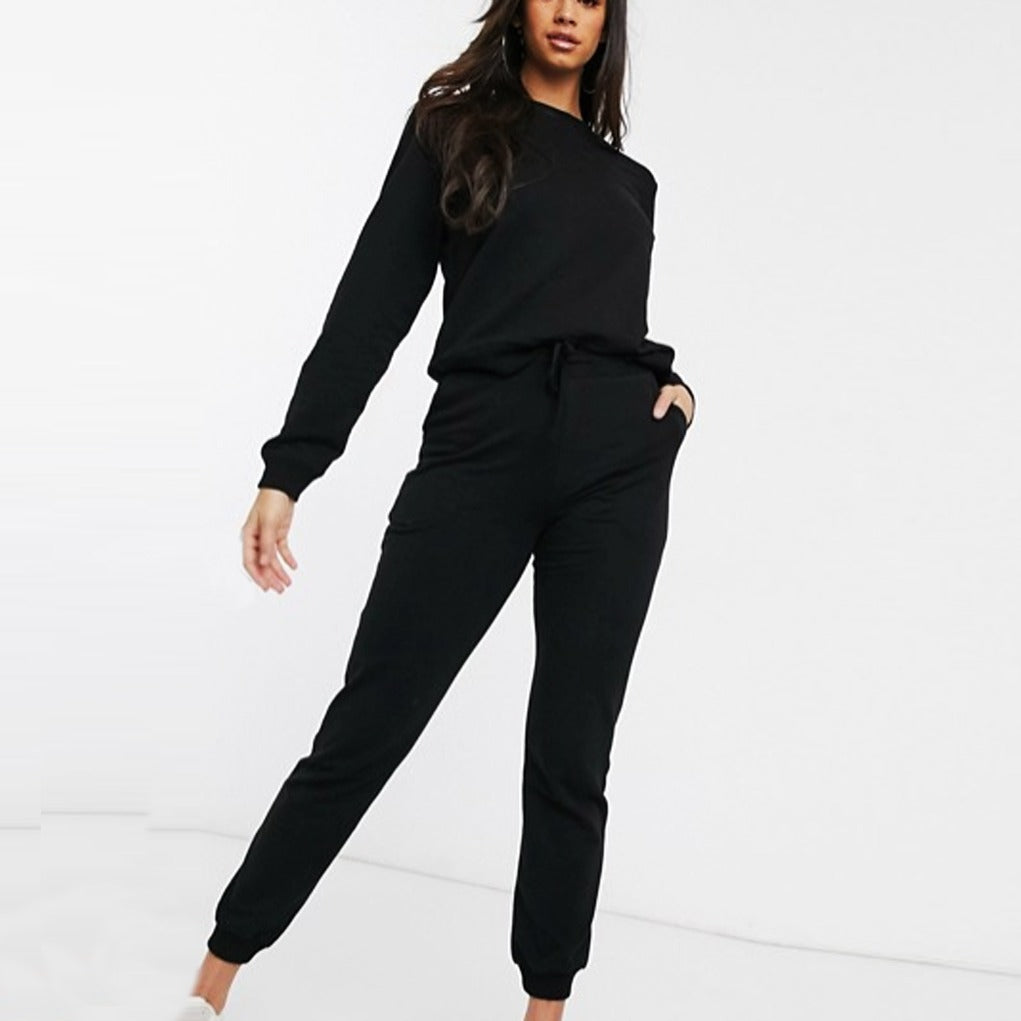 Black Plain Summer Tracksuit