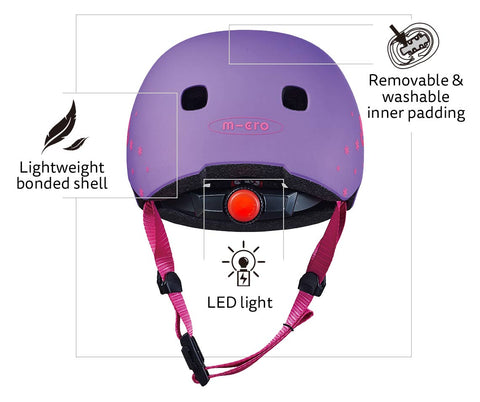 Floral LED kids helmet features