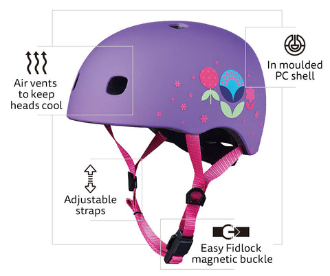 Floral LED helmet features
