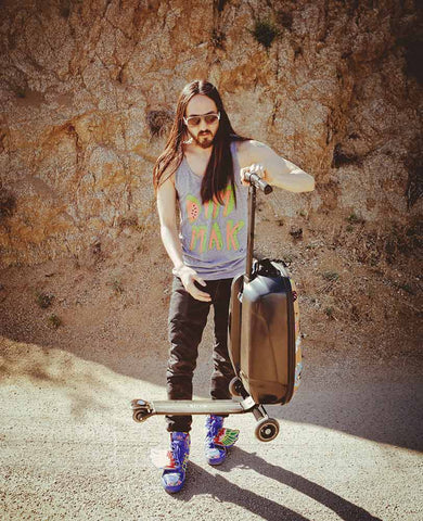 Steve Aoki With Luggage Scooter
